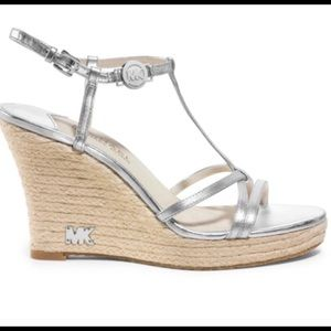Michael Kors Silver Wedge Shoes 7